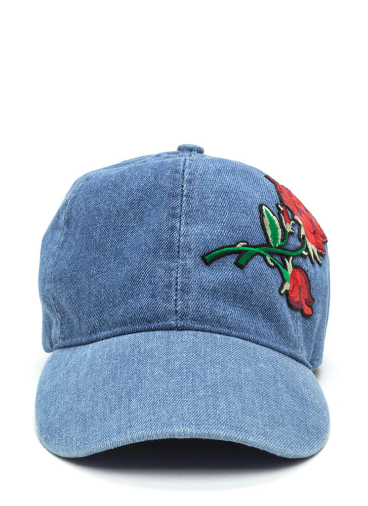 Rose To The Occasion Embroidered Hat DENIM