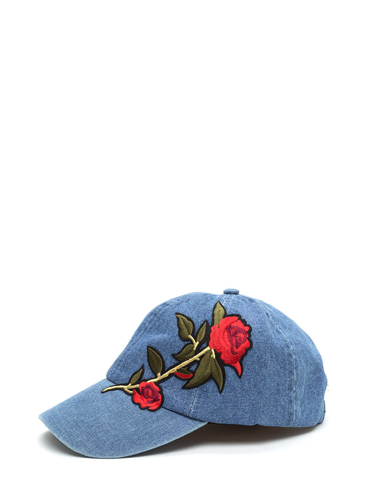 Radiant Rose Embroidered Baseball Hat
