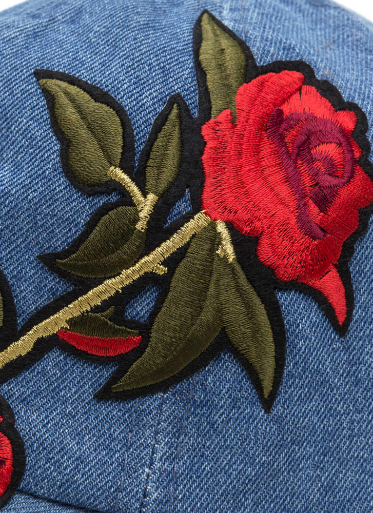 Radiant Rose Embroidered Baseball Hat DENIM