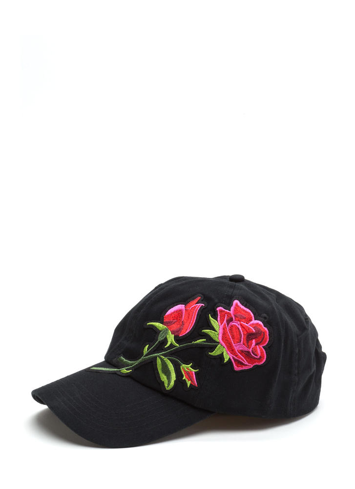 Blooming Rose Embroidered Baseball Hat