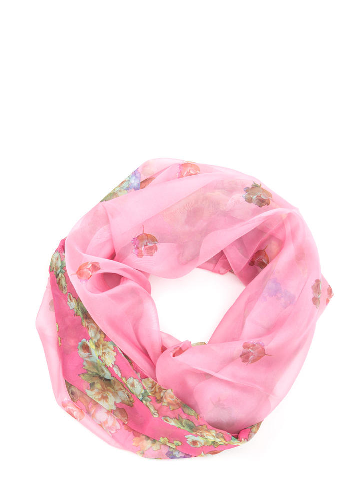 Spring Fever Floral Print Infinity Scarf