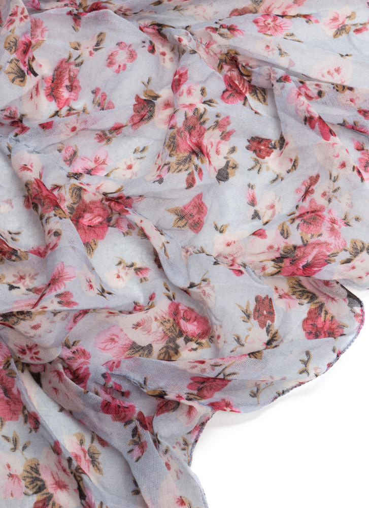 Floral Touch Gathered Scarf MULTI