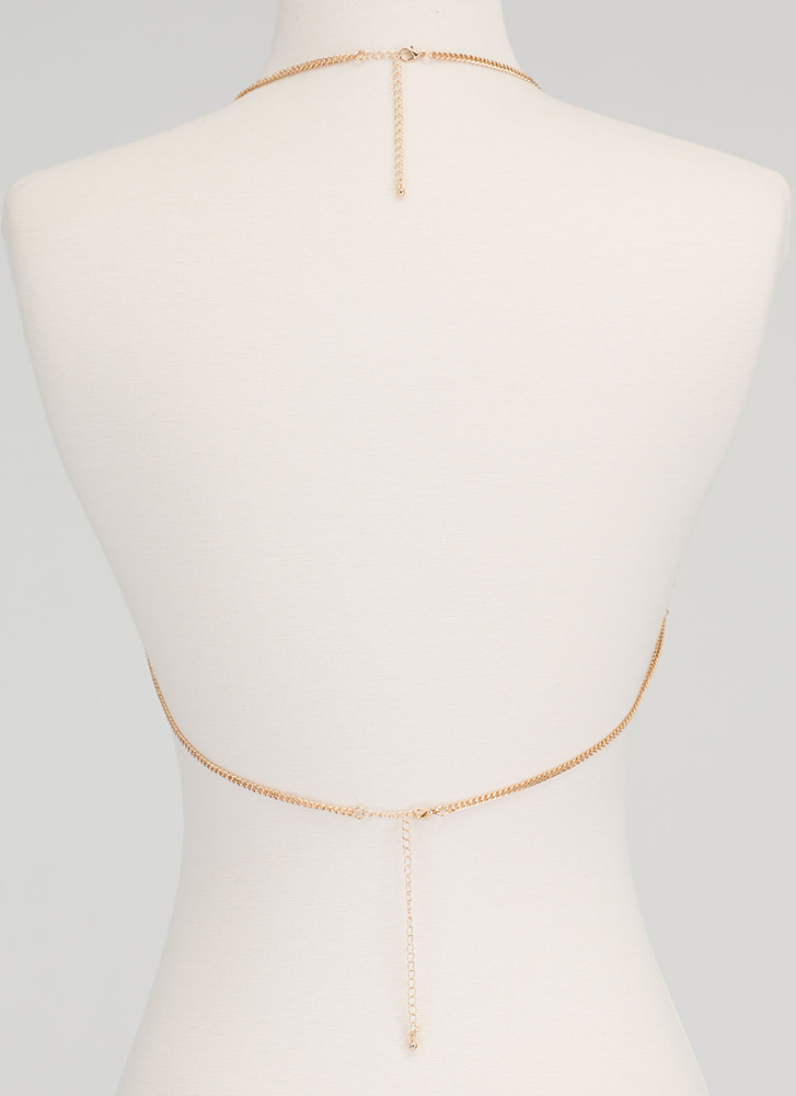Grid Luck Caged Bralette Bodychain GOLD