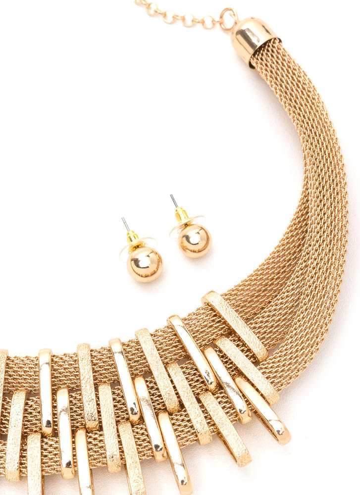 Bar Exam Shiny Mesh Necklace Set GOLD