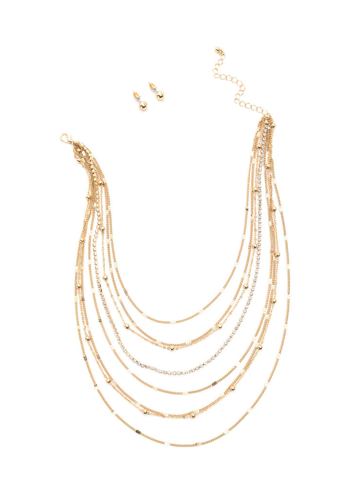 Shimmering Waterfall Chain Necklace Set