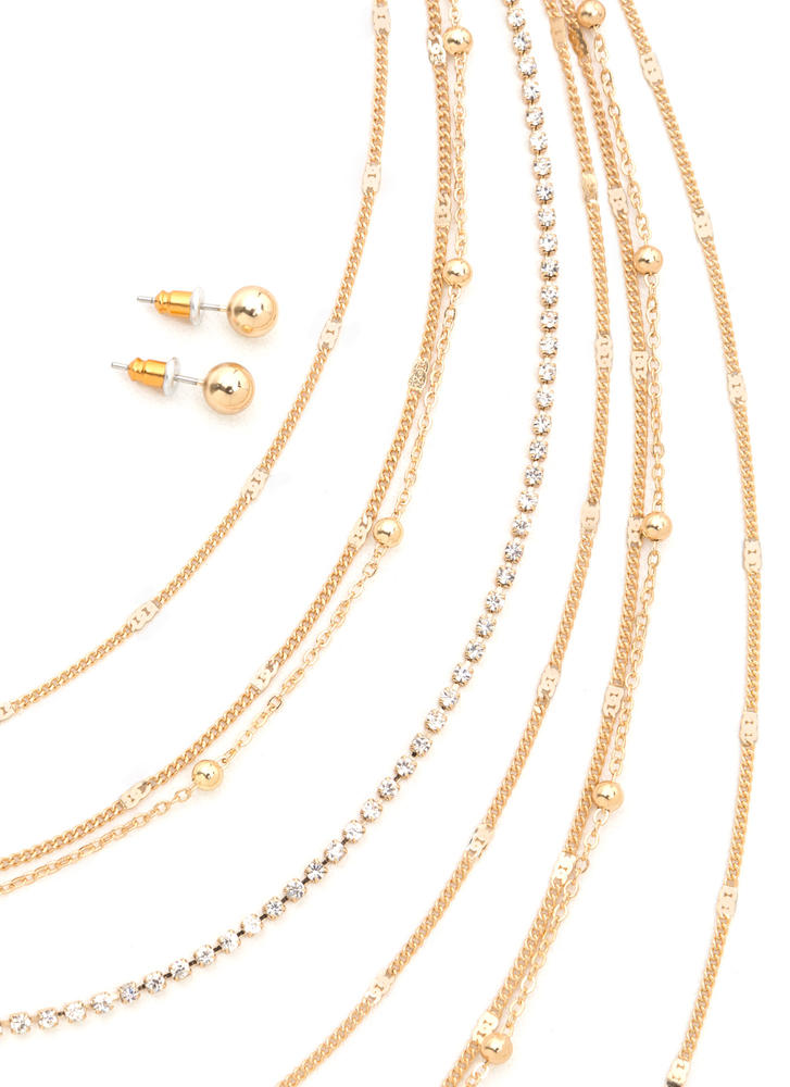 Shimmering Waterfall Chain Necklace Set GOLD