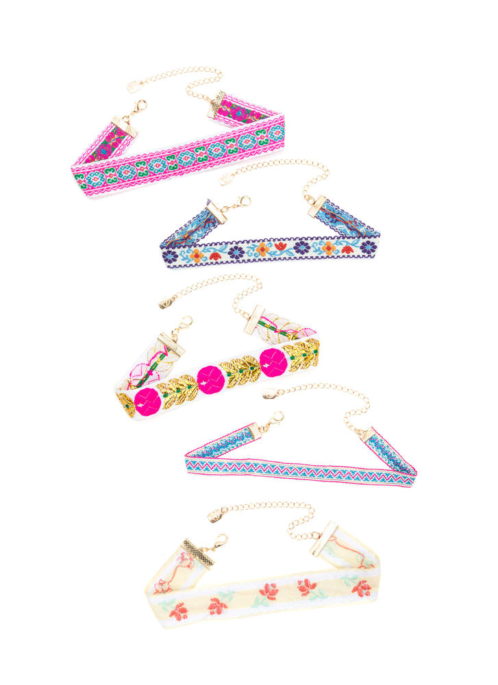 Fab Five Embroidered Choker Set