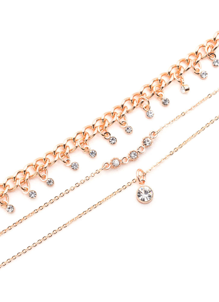 Finer Things Jeweled Necklace Set ROSEGOLD