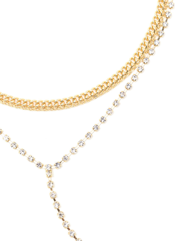Everyday Glitz Jeweled Y-Necklace GOLD