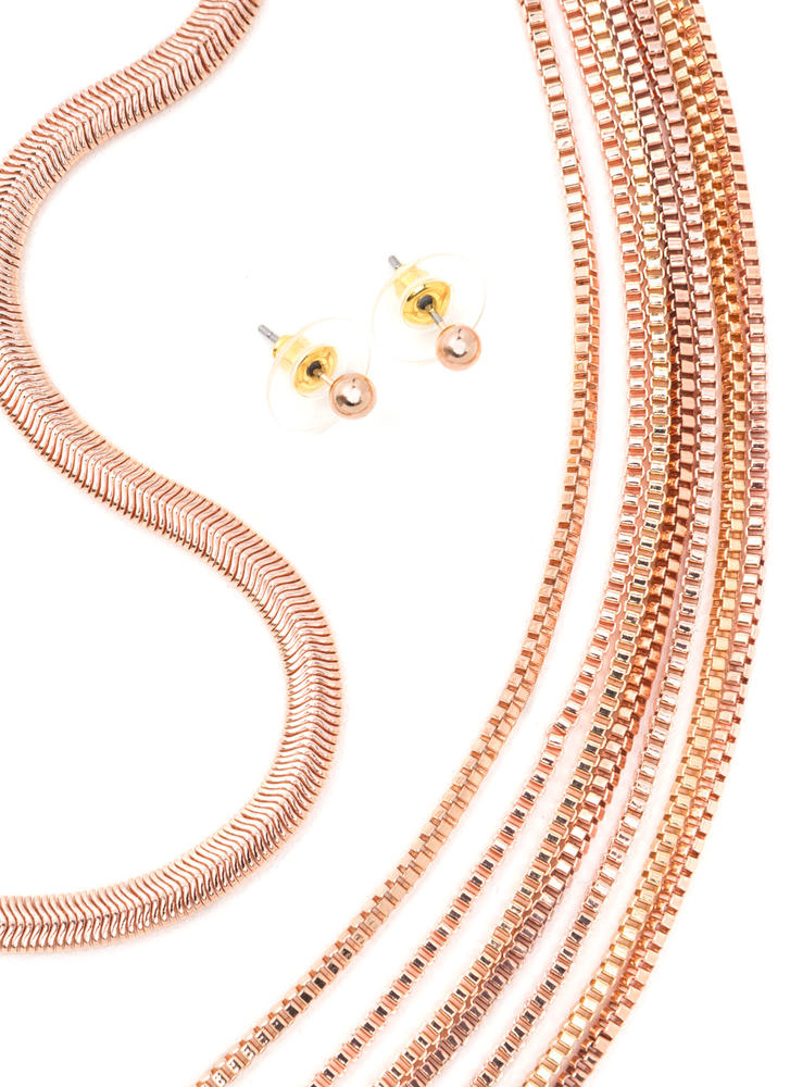 What A Pair Chain Choker 'N Necklace Set ROSEGOLD