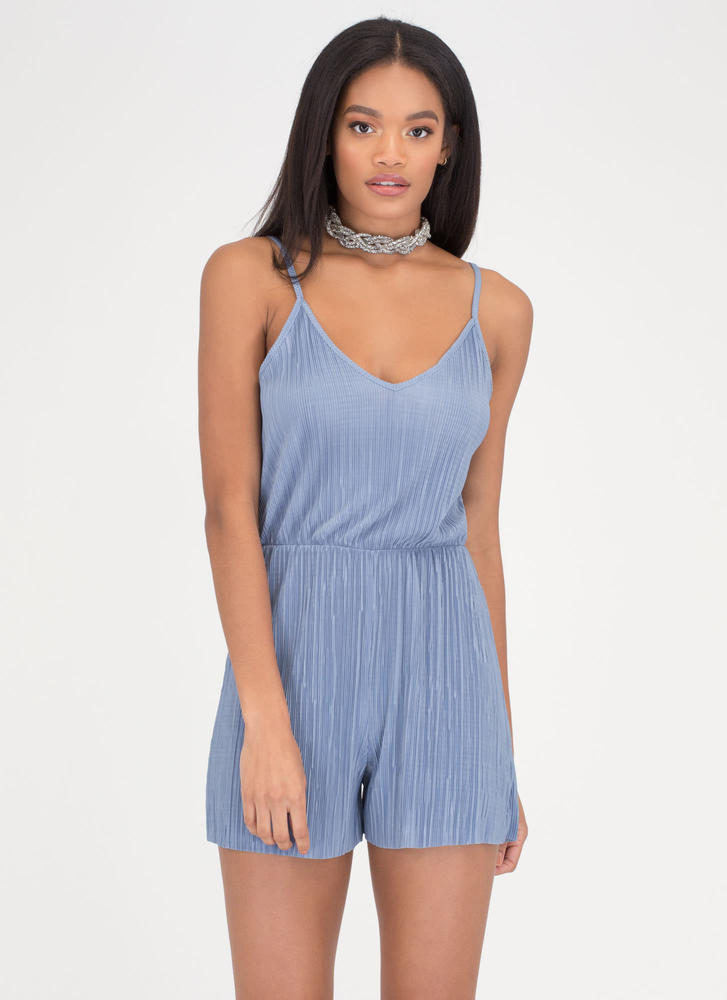 Say The Magic Word Pleated Romper BLUE