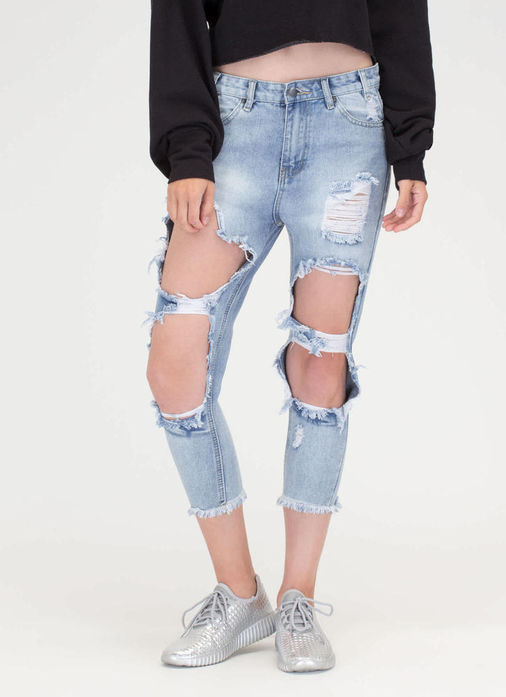 Fray Date Cropped Boyfriend Jeans BLUE