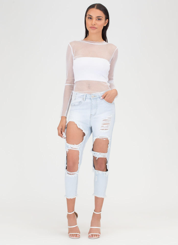 Fray Date Cropped Boyfriend Jeans LTBLUE