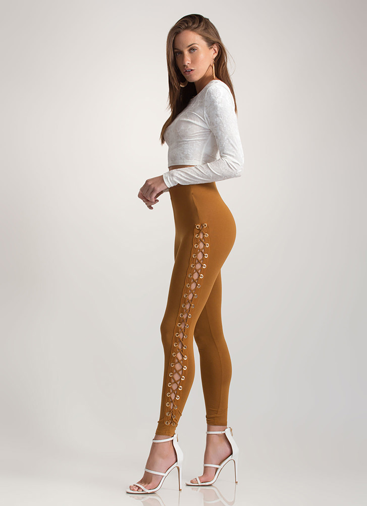 Sneak A Peek Lace-Up Leggings