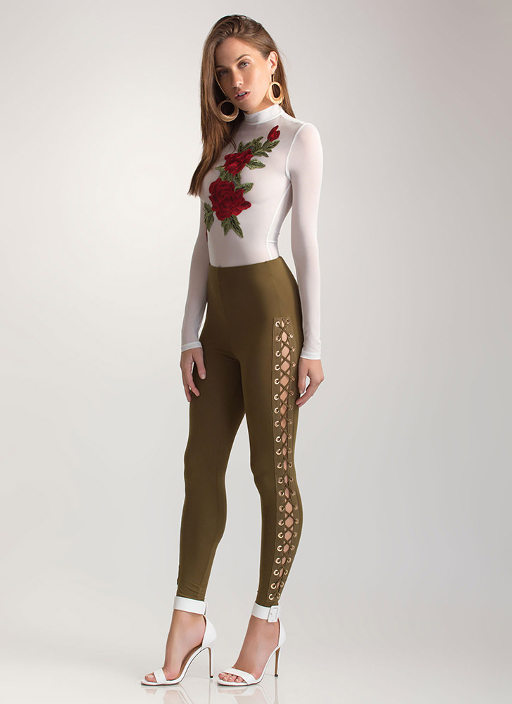 Sneak A Peek Lace-Up Leggings OLIVE