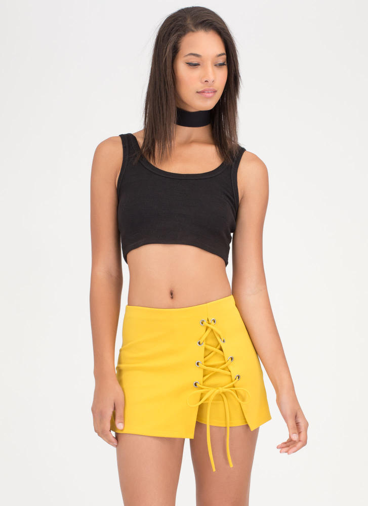Lace-Up To You Mini Skort