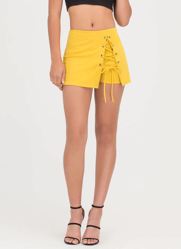 Lace-Up To You Mini Skort MUSTARD