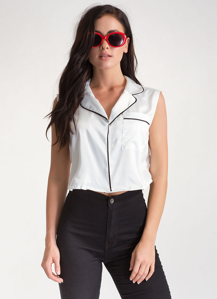 Lap Of Luxury Satin Cropped Shirt