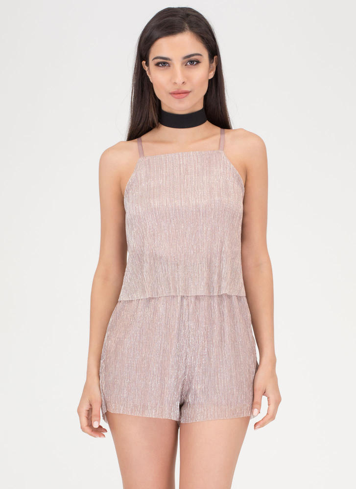 Glisten Closely Pleated Metallic Romper