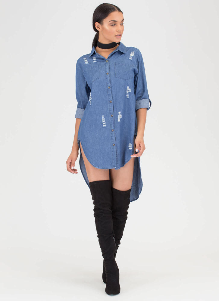 Shirt Happens High-Low Chambray Dress BLUE