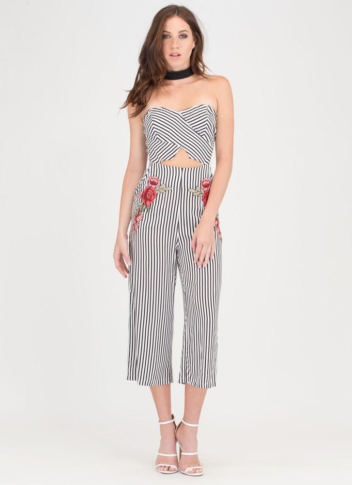 High Flower Striped Cut-Out Jumpsuit