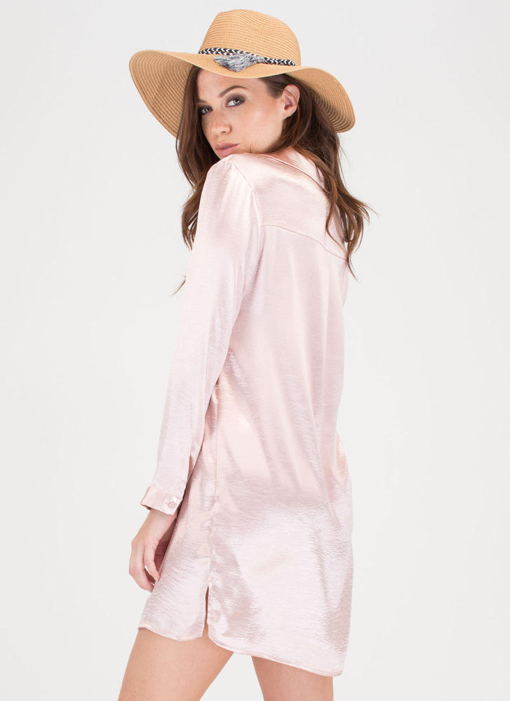 Cherry Blossom Season Satin Shirtdress BLUSH