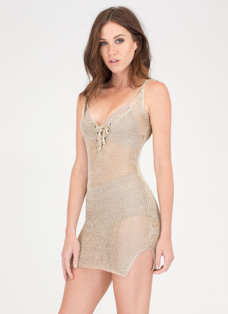This Is Knit Lace-Up Metallic Minidress LTGOLD