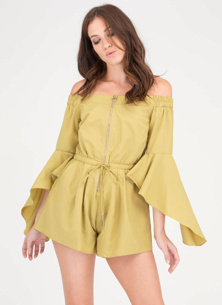 Ring The Bell Sleeve Off-Shoulder Romper CHARTREUSE
