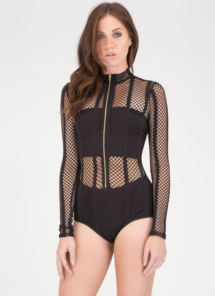 Hole Thing Zip-Up Sports Mesh Bodysuit