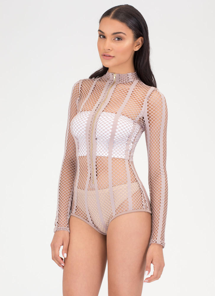 Hole Thing Zip-Up Sports Mesh Bodysuit NUDE