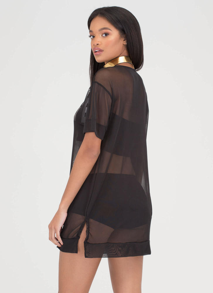 That Was Savage Sheer Mesh Tee Dress BLACK
