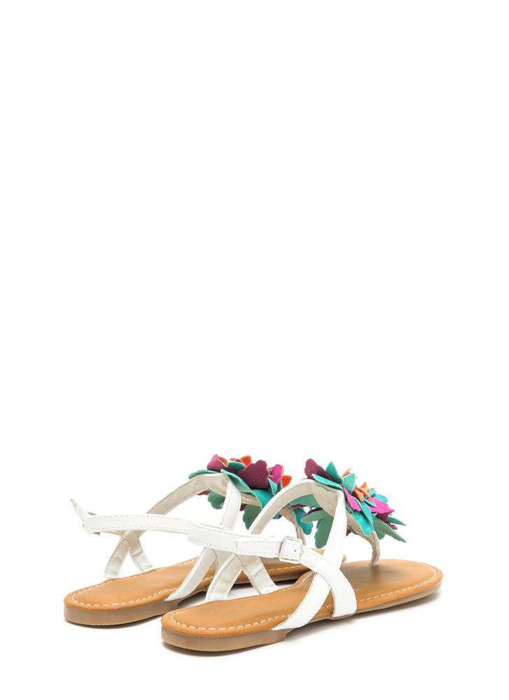 Ka-Bloom Faux Leather T-Strap Sandals WHITE
