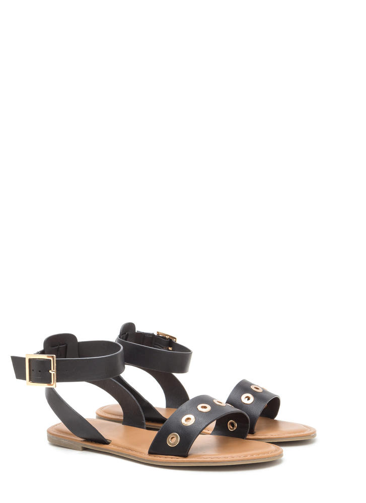 Hole-d Together Faux Leather Sandals BLACK