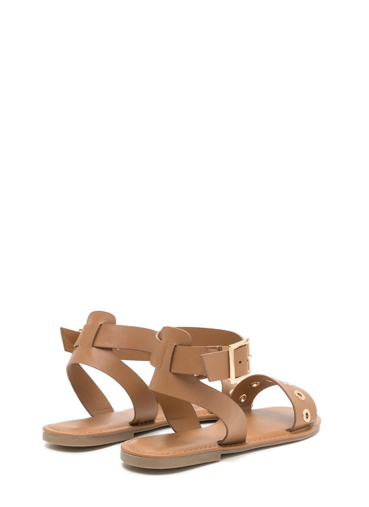 Hole-d Together Faux Leather Sandals TAN