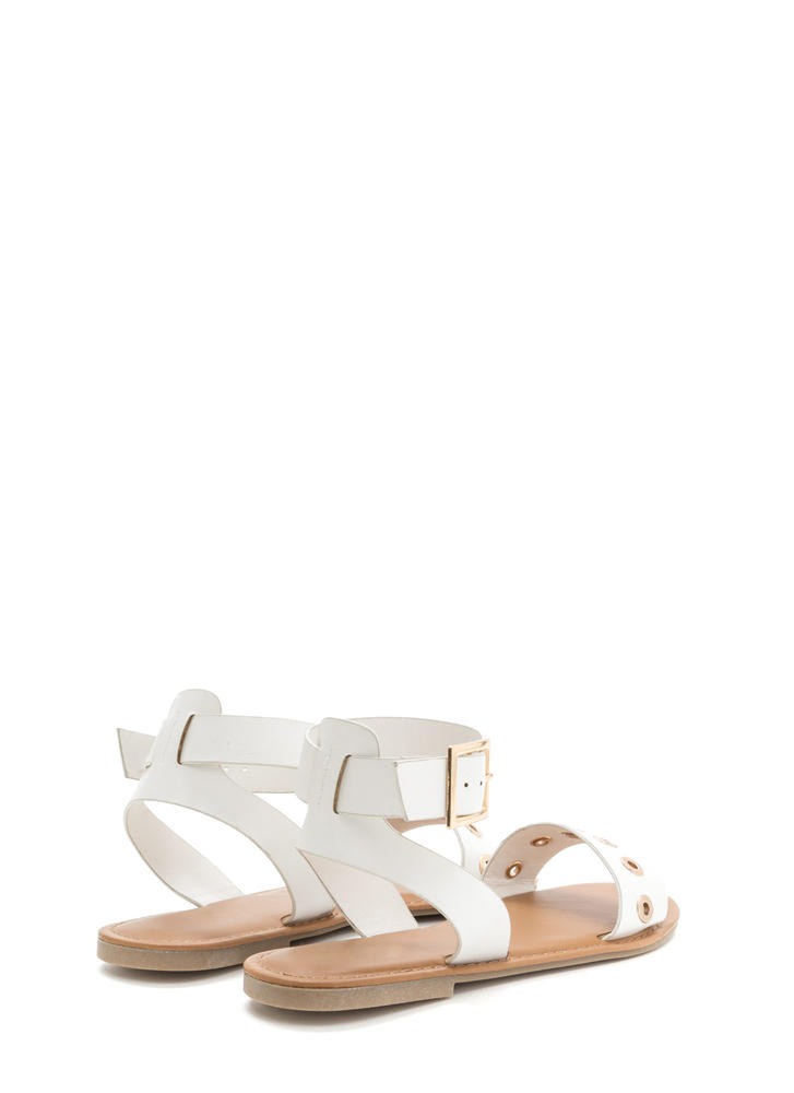 Hole-d Together Faux Leather Sandals WHITE