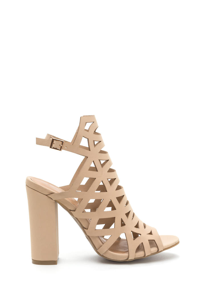 Geo Up Cut-Out Faux Nubuck Heels