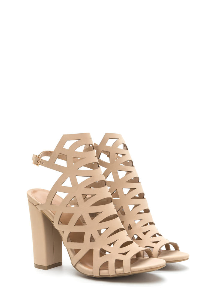 Geo Up Cut-Out Faux Nubuck Heels NUDE