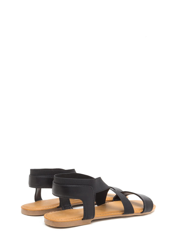 For X-ample Strappy Faux Leather Sandals BLACK