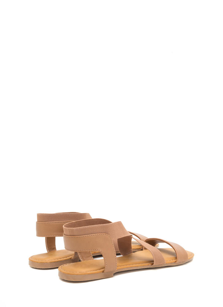 For X-ample Strappy Faux Leather Sandals TAN