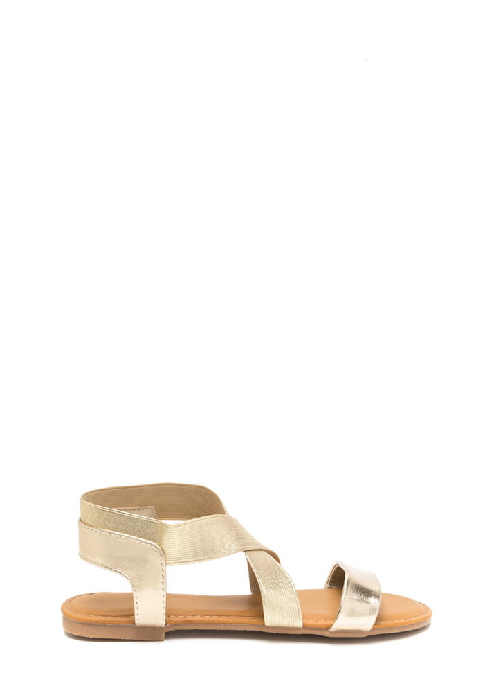 For X-ample Strappy Metallic Sandals GOLD