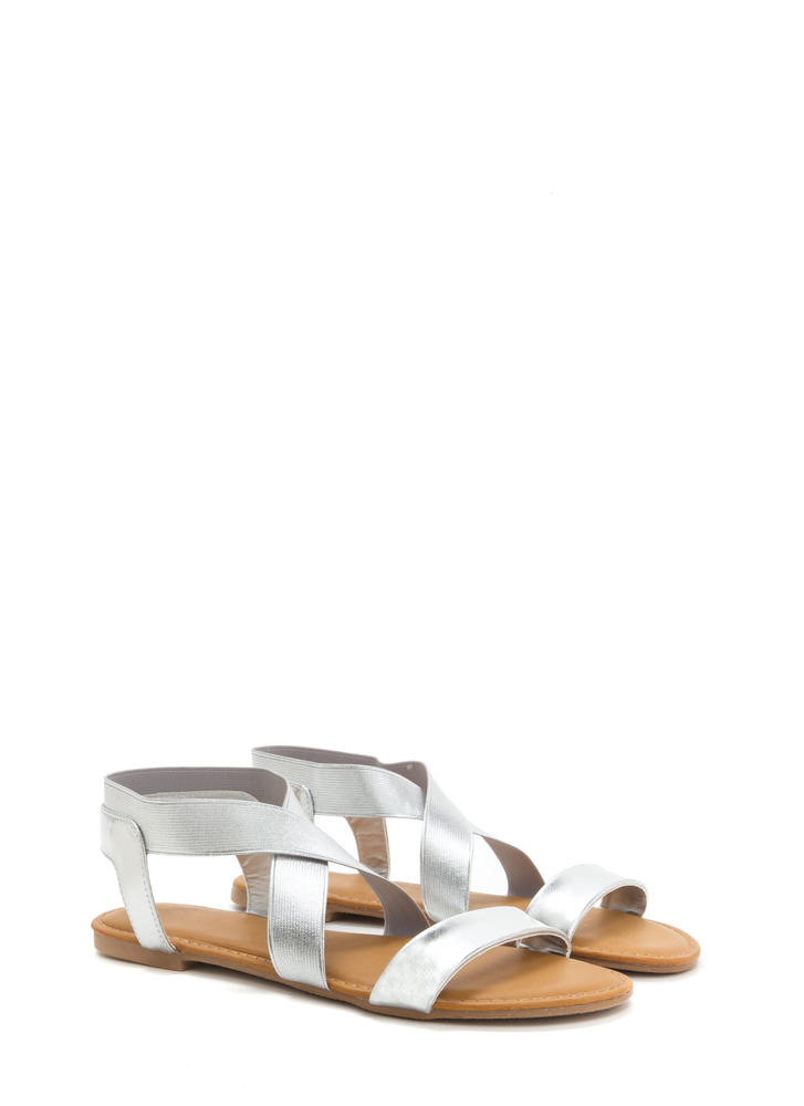 For X-ample Strappy Metallic Sandals SILVER