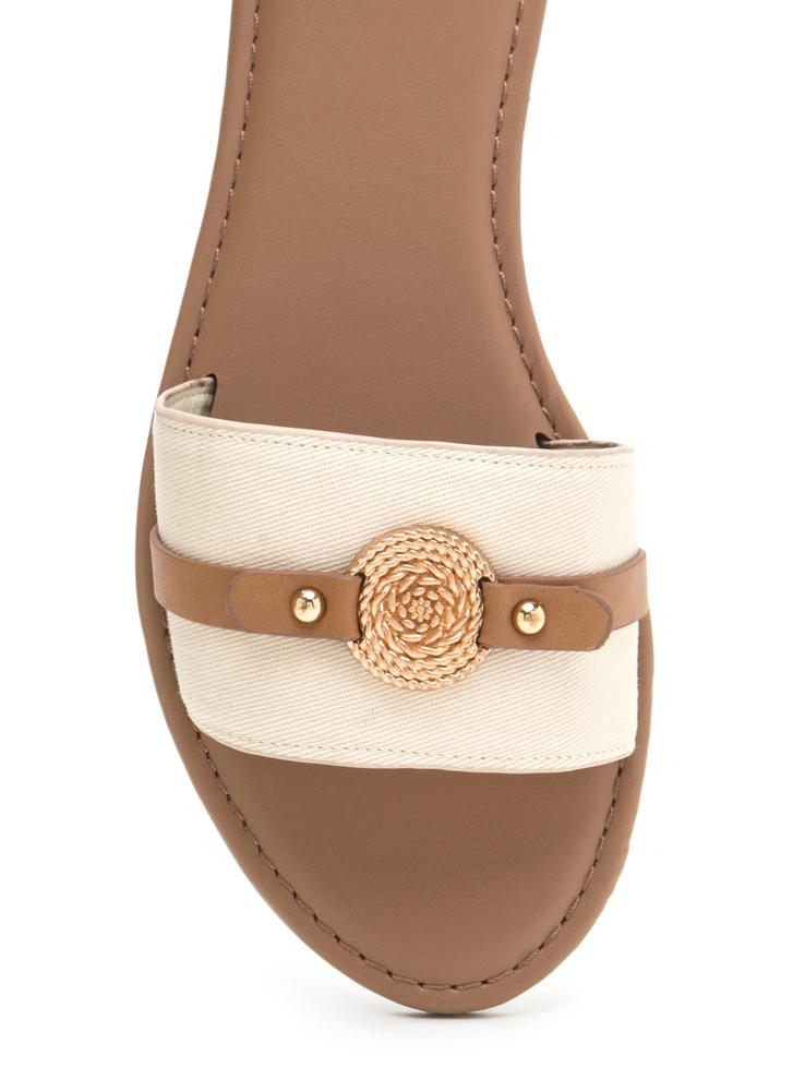 Rope Us In Canvas Slide Sandals BEIGE