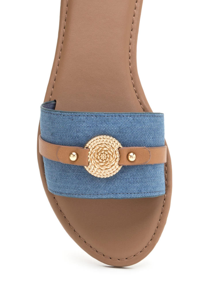 Rope Us In Denim Slide Sandals LTBLUE