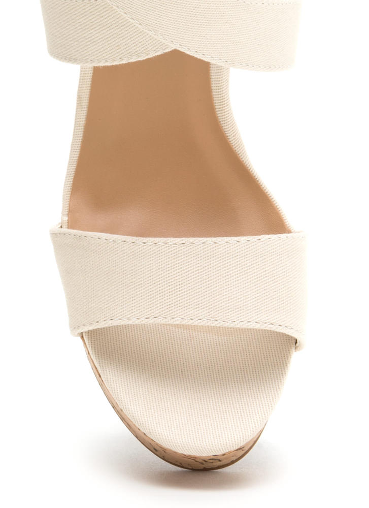 Bow All Out Strappy Platform Wedges BEIGE