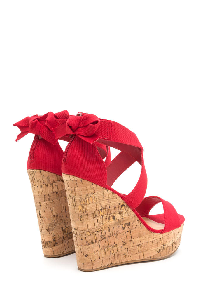 Bow All Out Strappy Platform Wedges RED