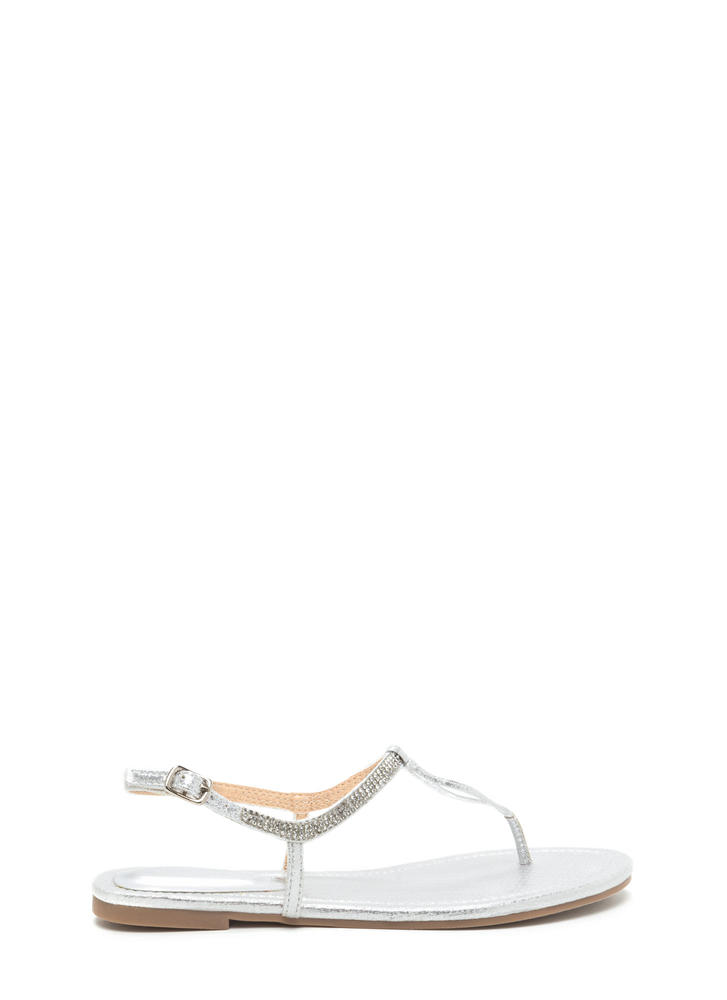 Bling It On Metallic T-Strap Sandals