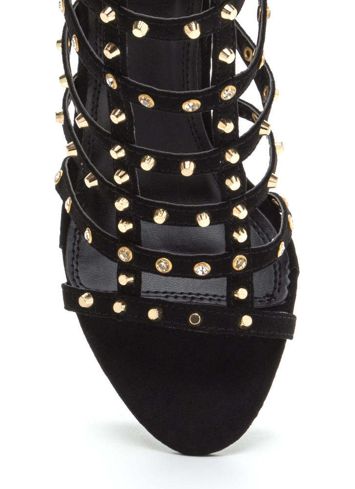 Stud-y Hard Caged Embellished Heels BLACK