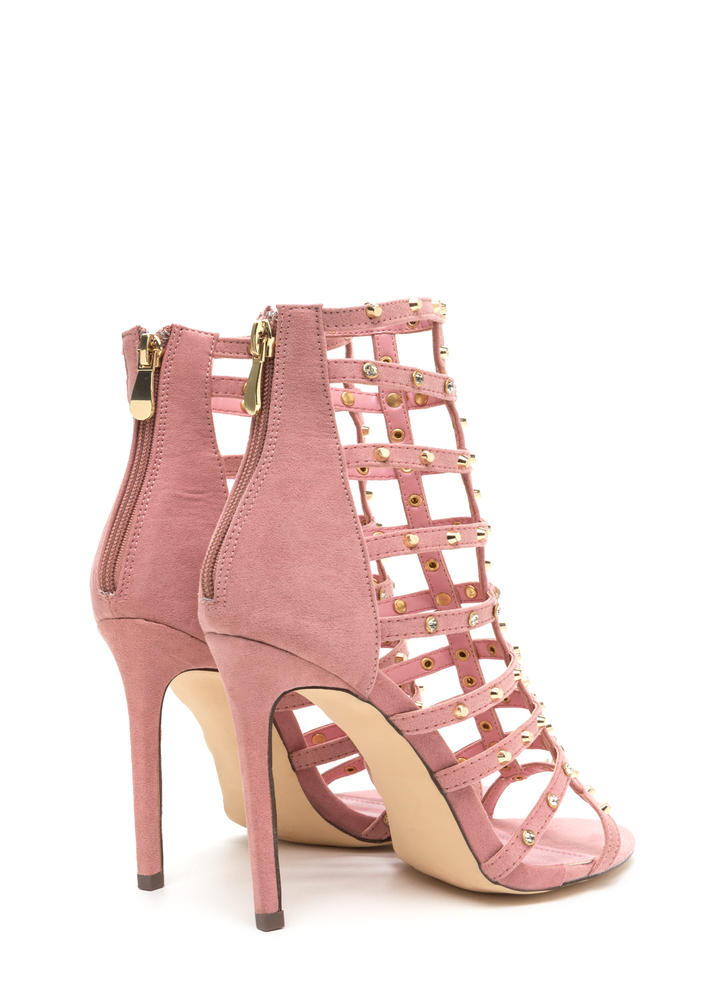 Stud-y Hard Caged Embellished Heels DUSTYPINK