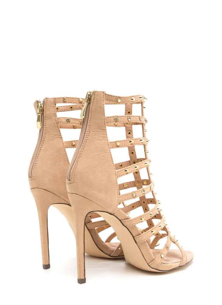 Stud-y Hard Caged Embellished Heels NUDE