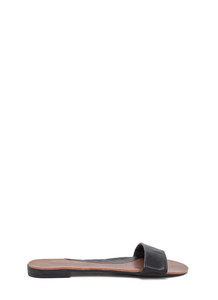 One And Done Faux Leather Slide Sandals BLACK